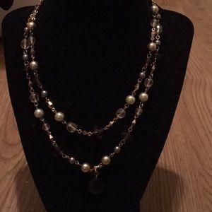 Vintage CaroLee duo strand pearl crystal necklace